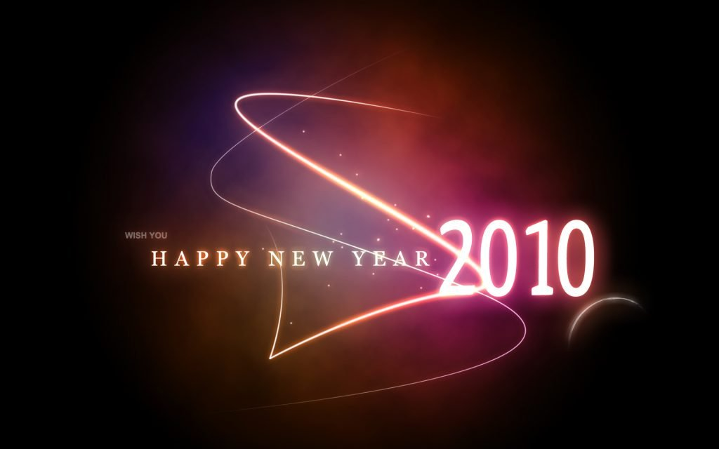 """Glowing text saying """"Happy New Year 2010"""""""