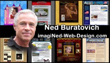 Business card with Ned's headshot superimposed over a background of 8 postage-stamp sized website home-pages