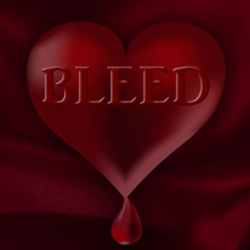 Dark red heart with drop of blood and word, BLEED, on it