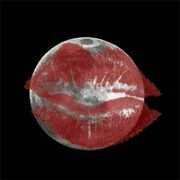 Full moon with red lipstick on it