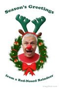 """Photo of Ned in a red shirt, red clown nose, green reindeer antlers and a """"Wow!"""" expression poking through an evergreen bough Christmas wreath with a big red bow at the bottom."""