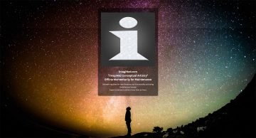 "Screenshot of the imagiNed.com ""offline for maintenance"" page showing the silhouette of a man standing, looking up at a dusky twilight sky, filled with thousands of stars and the imagiNed.com site icon / logo."