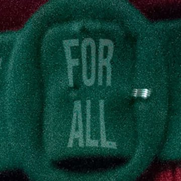 "Green felt belt buckle with words ""FOR ALL"" it"