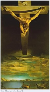 Christ of Saint John of the Cross is a painting by Salvador Dalí which depicts Jesus Christ on the cross in a darkened sky floating over a body of water.