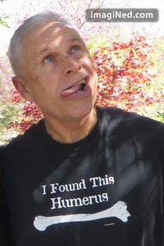 "Photo of Ned wearing his ""I Found This Humerus (underlined with the image of the arm bone)"" T-shirt AND a goofy expression, tongue out and askew, quizzical glance upward at the imagiNed.com logo in the upper right corner."
