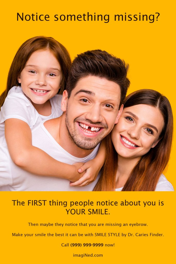 Dental marketing postcard with close up photo of clean-cut young family, daughter, father and mother, but dad is missing a front tooth.