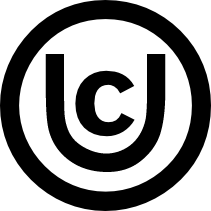 "Uncommonly Creative symbol - a circle with the letter ""U"" inside it, with the letter ""C"" inside the ""U"""