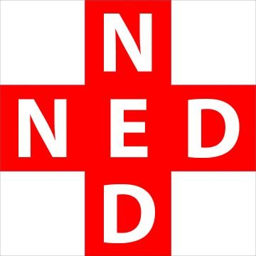 Red cross symbol, superimposed with large white capital letters, 3 across: N E D; 3 down N E D. Both vertical and horizontal share the same E in the center.