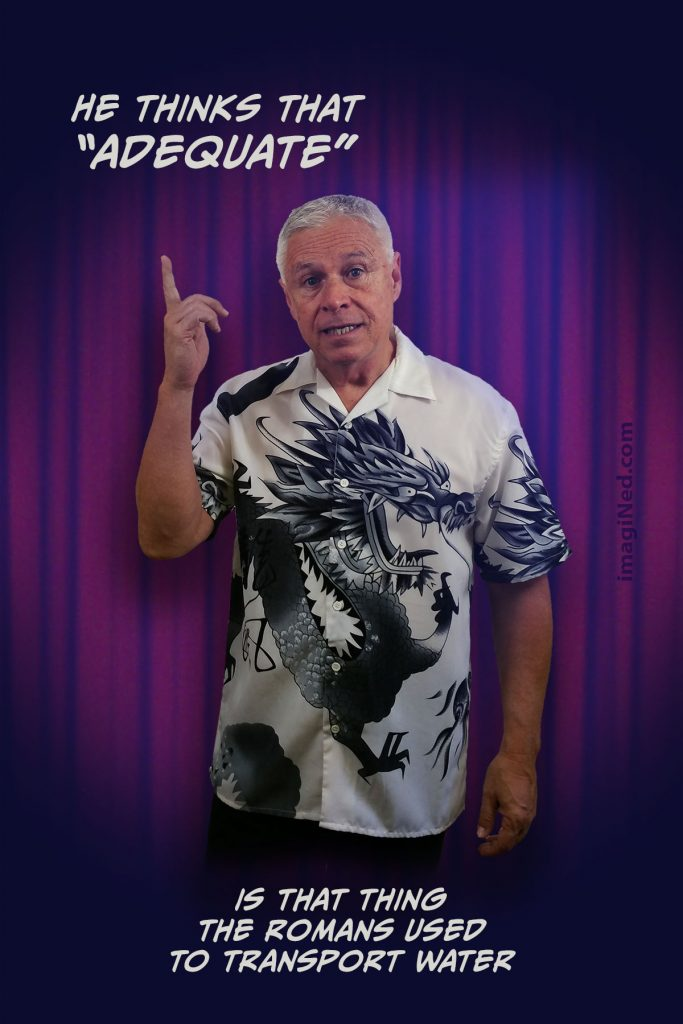 Ned wearing Oriental dragon print shirt, standing in front of nightclub stage curtain pointing up, as if to make a point. The associated text is positioned above and below his image.