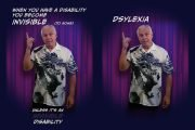 Two side-by-side frames of Ned wearing Oriental dragon print shirt, standing in front of nightclub stage curtain pointing up, as if to make a point. The associated text is positioned above and below his image.