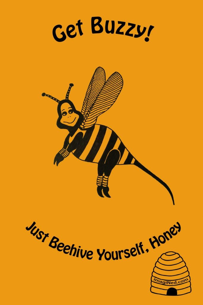 Against a goldenrod background, a cartoon bee, striped body, stinger tail, veined wings, aerobics ankle warmers, nice eyes and a calm, contented smile.