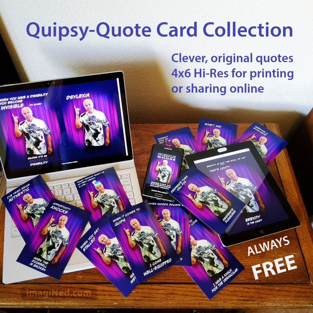 Assortment of Quipsy-Quote Cards, some hard copy, some on various device screens laid out on a wooden table