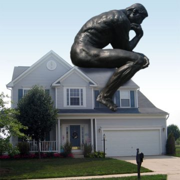 "4x6 postcard used as a House-Sitting flyer showing Rodin's seated figure sculpture, ""The Thinker,"" sitting on a house."