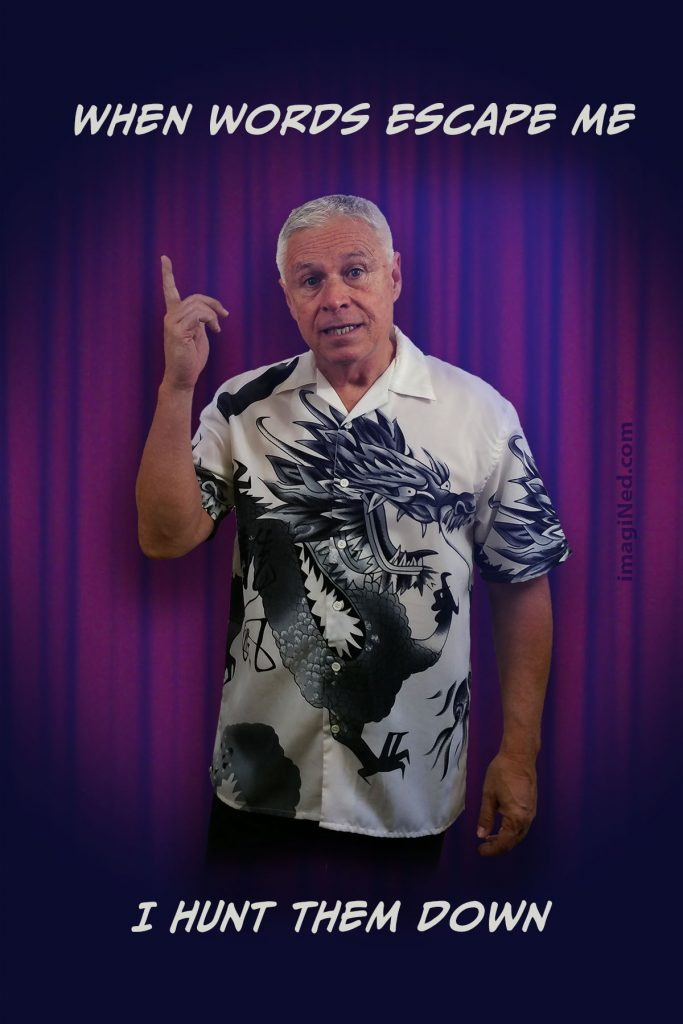 Ned Buratovich, wearing Oriental dragon print shirt, standing in front of nightclub stage curtain pointing up, as if to make a point. The associated text is positioned above and below his image.