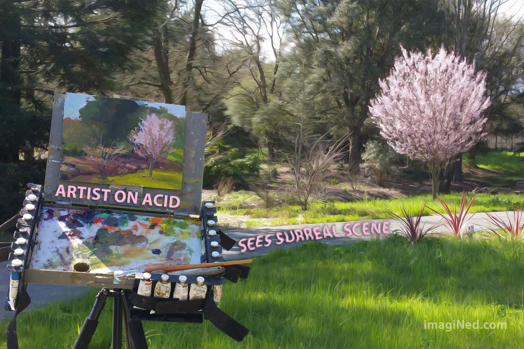 A flowering plum tree bursts into a riot of pink blossoms in the background (altered in Photoshop to be all swirly/wavy). In the unaltered foreground, an artist's easel with the partly painted scene upon it captures the artist's impression.