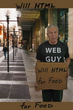 "Ned, standing in business district sidewalk, wearing WEB GUY T-shirt, holding scrap of cardboard scrawled with message: ""Will HTML for Food"""