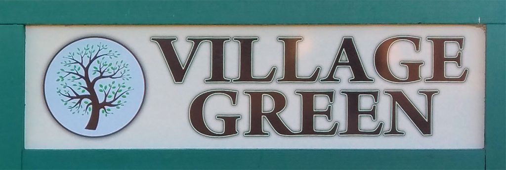 Wooden sign with green borders, circular icon of a tree sprouting leaves and large, raised brown lettering spelling VILLAGE GREEN
