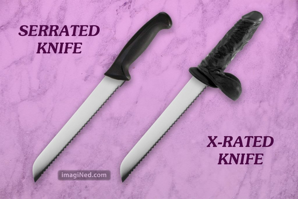Two knives on a marble counter, both with serrated blades, but the X-Rated knife has a dildo for a handle