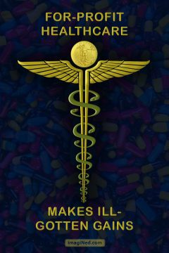 A golden caduceus with a gold coin atop the wings and snakes around the staff in the shape of dollar signs stands out against a darkened background of hundreds of colorful pill capsules