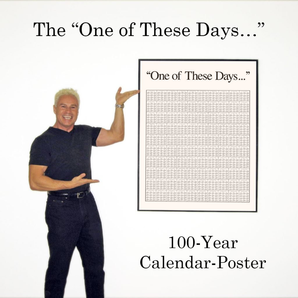Ned Buratovich proudly displays his framed 100-Year calendar-poster hung on the wall.