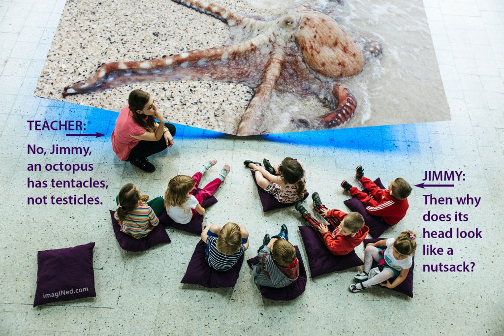 Young woman teacher with eight kindergarten children seated on pillows in front of a large octopus display in a museum.