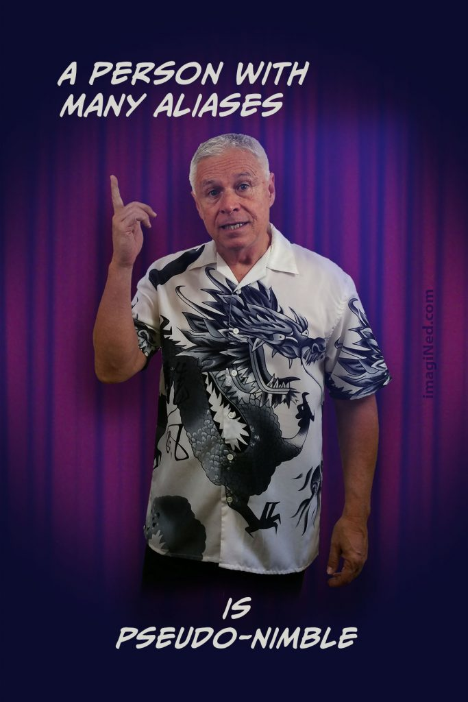 Ned Buratovich wearing Oriental dragon print shirt, standing in front of nightclub stage curtain pointing up, as if to make a point. The associated text is positioned above and below his image.