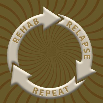 Over a swirl background are three arrows in a circle, embossed with the words: REHAB RELAPSE REPEAT.