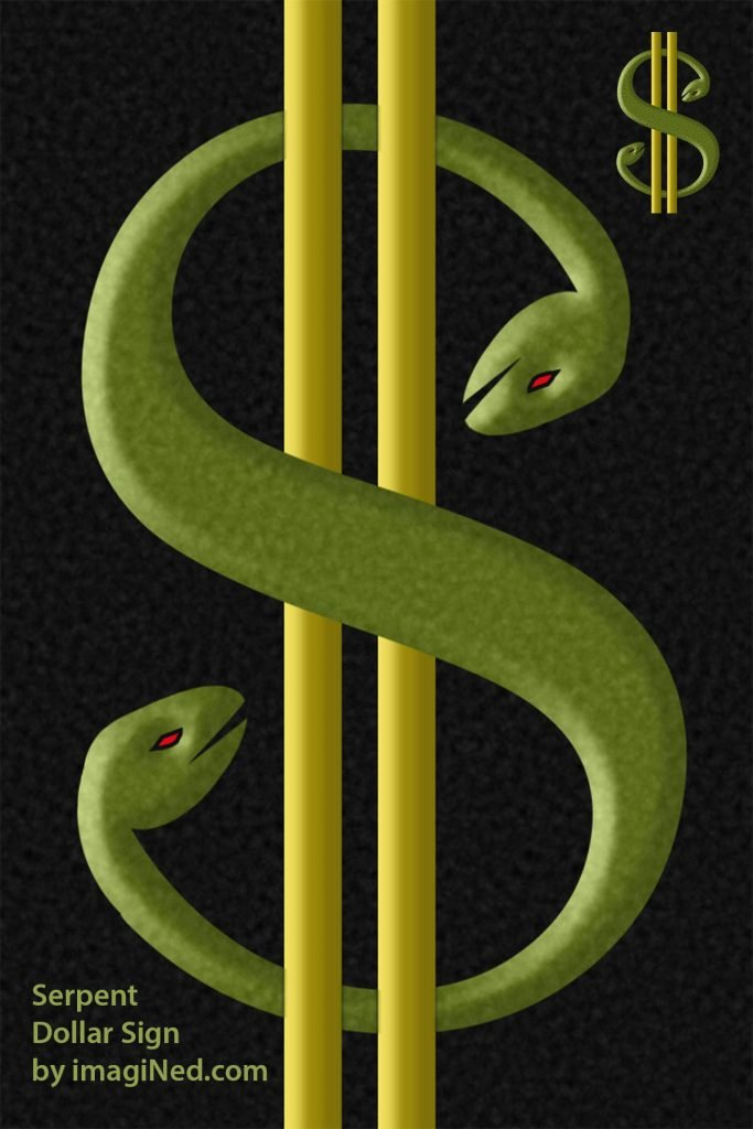 Two-headed, S-shaped, chartreuse serpent wound around two gold bars to create the shape of a typographical dollar sign.