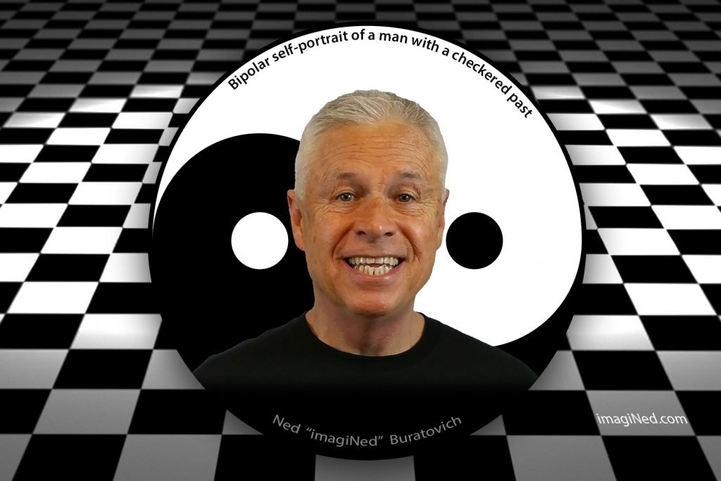 Headshot of Ned Buratovich inside black and white yin-yang circle against a black and white checkerboard background stretching off into the distance.