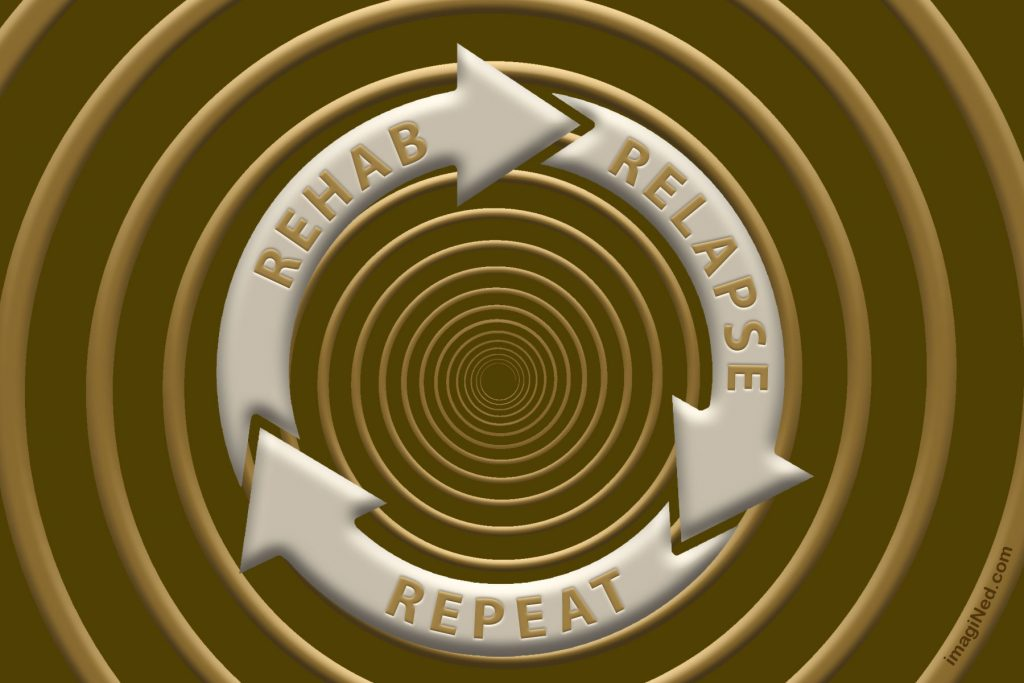 Over a spiral background are three arrows in a circle, embossed with the words: REHAB RELAPSE REPEAT.
