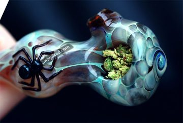 Trippy glass pot pipe filled with crushed green bud.