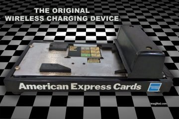 An old school credit card imprinter (knuckle buster) for American Express Cards sits on a checkerboard floor.
