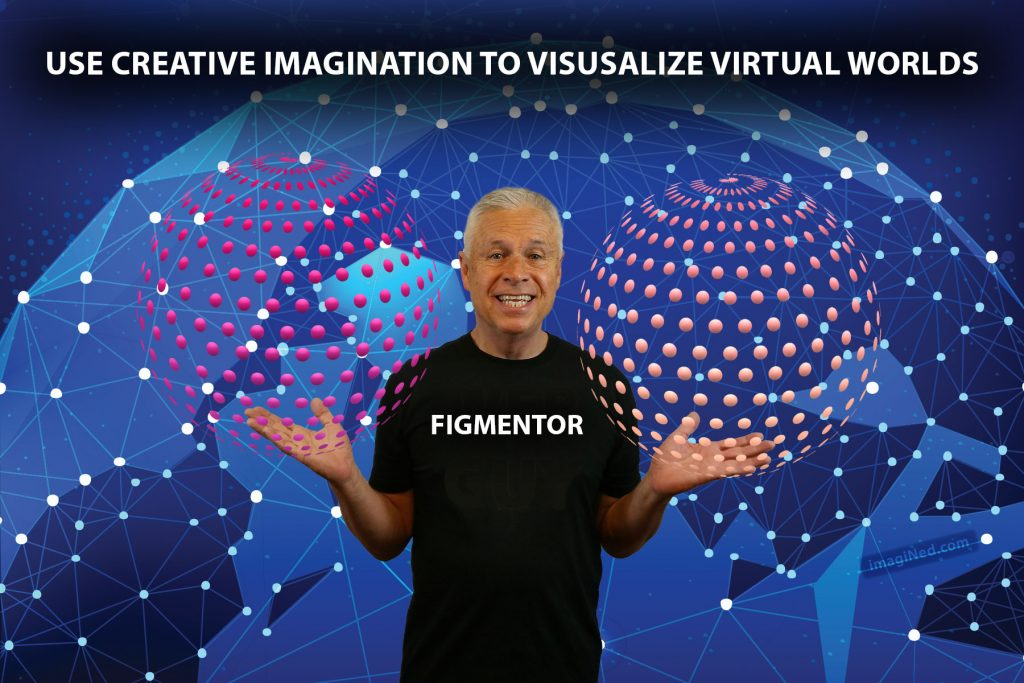 Against a backdrop of a networked globe, Ned Buratovich (with the word, FIGMENTOR, on his T-shirt) stands holding two spheres made of colored dots.