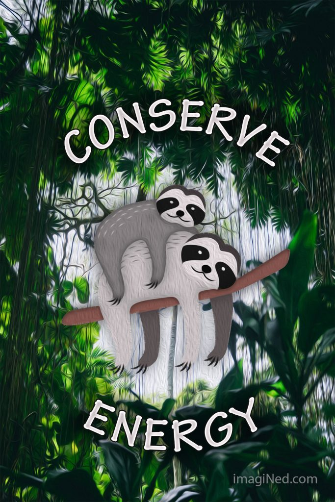 Jungle vegetation encircles two sloths draped over a branch. The words: CONSERVE ENERGY also encircle the sloths.