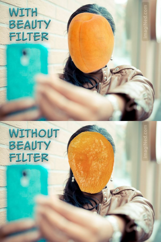 Two photos of a woman taking a selfie with her cell phone. In top photo, her face is replaced by a fresh apricot. In bottom photo, her face is replaced by a dried apricot.