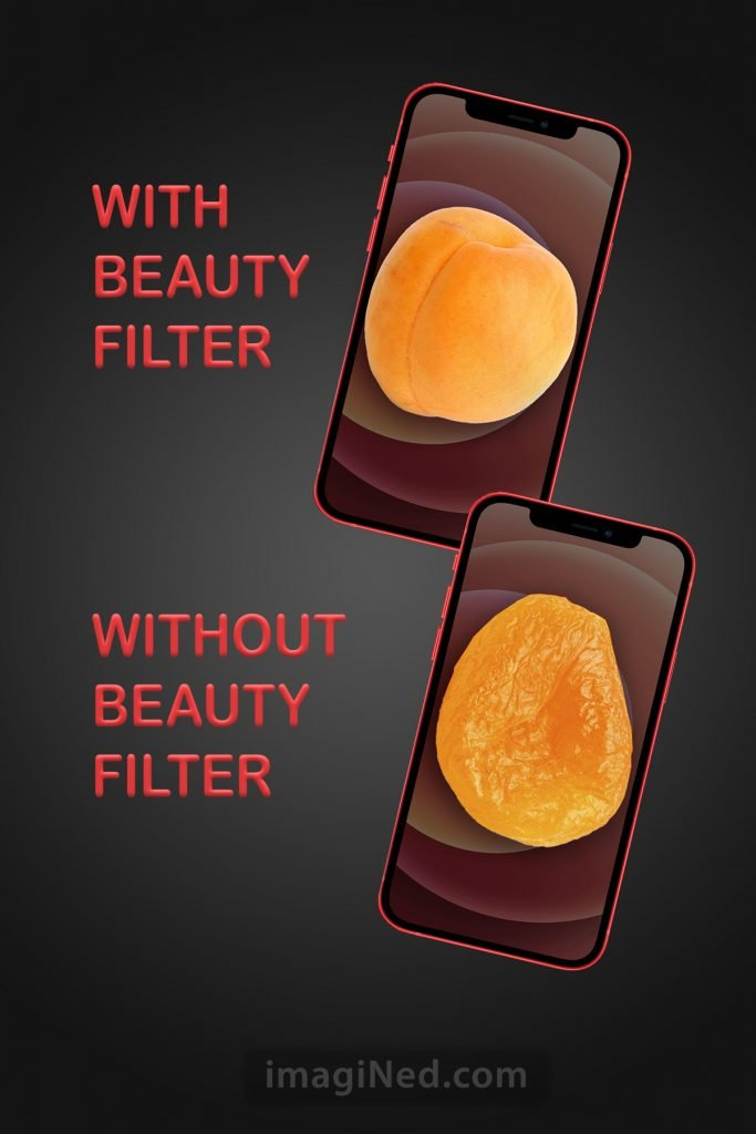 Two iPhones pictured, each with full screen photo. The iPhone WITH BEAUTY FILTER shows a fresh apricot. The iPhone WITHOUT BEAUTY FILTER shows a dried apricot.