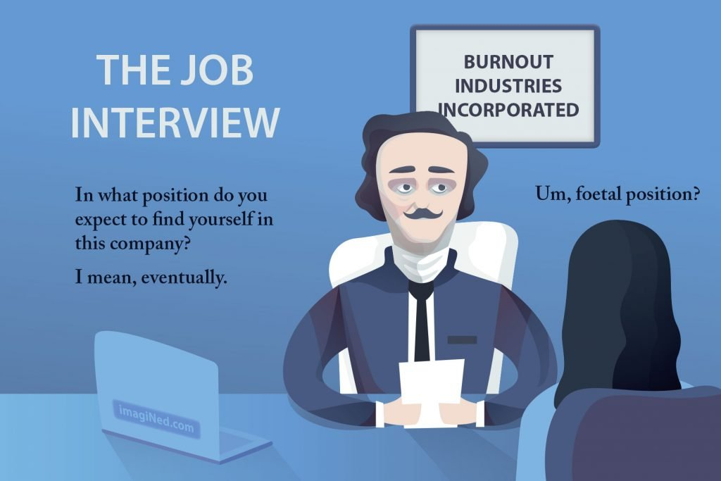 Interviewer at BURNOUT INDUSTRIES INCORPORATED asks the applicant this question: In what position do you expect to find yourself in this company, eventually? Applicant answers: Um, foetal position?