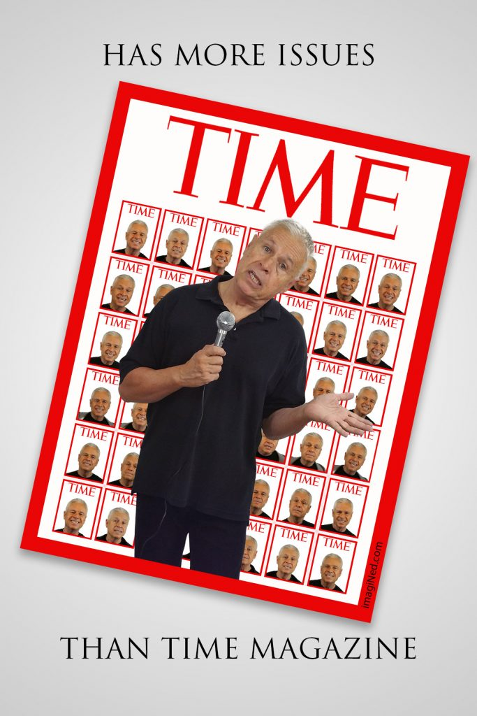 Ned Buratovich pictured holding microphone on the cover of TIME magazine. Behind him, on the cover is a grid of about 40 TIME magazine covers, each featuring a different headshot of Ned.