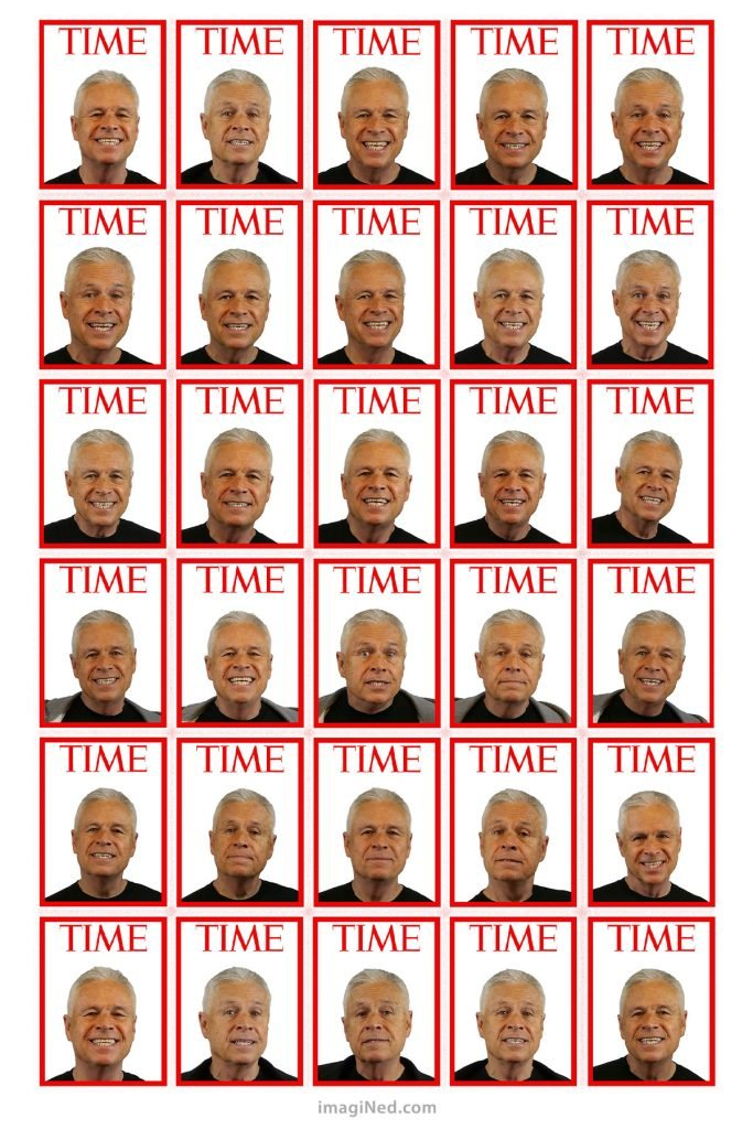 A 5x6 grid of 30 TIME magazine covers, each containing a different professional headshot of model, Ned Buratovich.