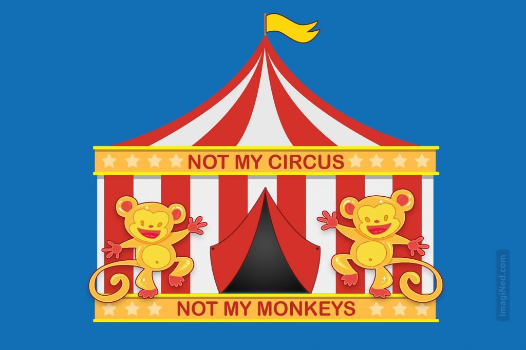 A circus tent has two monkeys dancing in front of it.