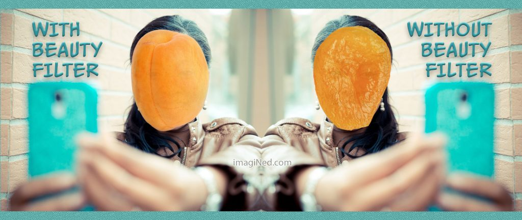 Two photos of a woman taking a selfie with her cell phone. In the left photo, her face is replaced by a fresh apricot. In the right photo, her face is replaced by a dried apricot.