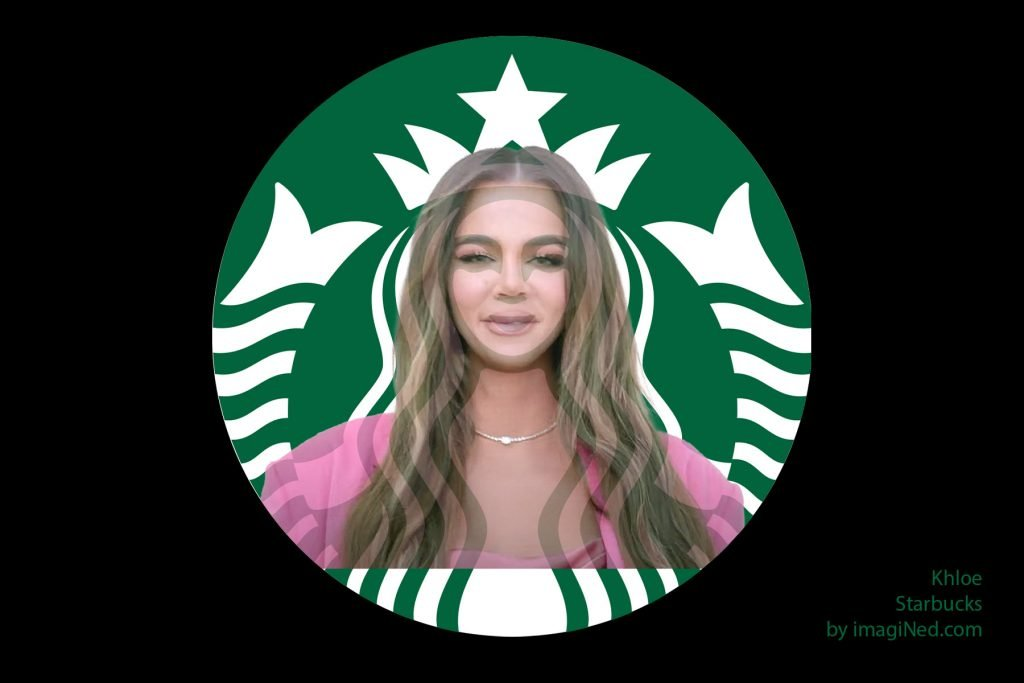 Photoshop mashup of Starbucks mermaid logo overlaid with photo of Khloe Kardashian with the facial features (eyes, nose, mouth) all aligned