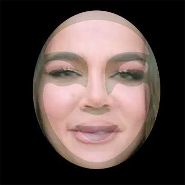 """Khloe Kardashian's new """"alien"""" face overlaid with the Starbucks mermaids face."""