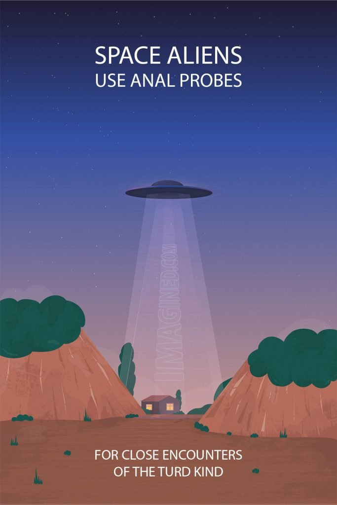A flying saucer hovers over an isolated home in the hills, illuminating the area with a cone of light.