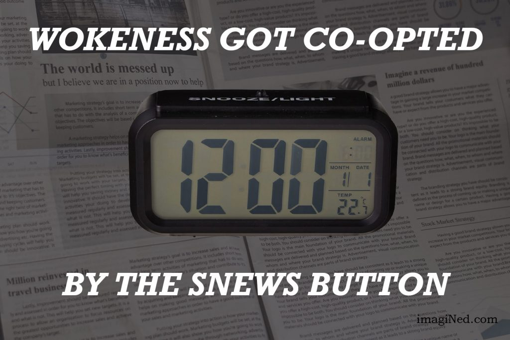 Illustration of digital alarm clock with large SNOOZE button sitting atop a generic newspaper page.
