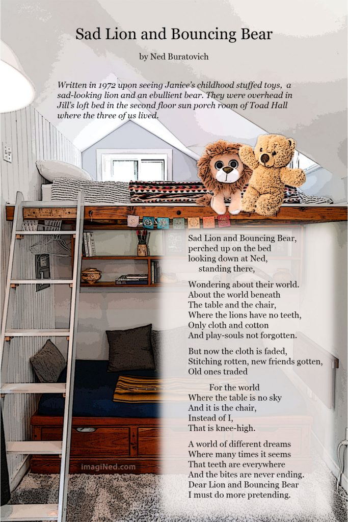 A stuffed-toy lion and bear sit together on an upper bunk bed, with the text of a poem below.